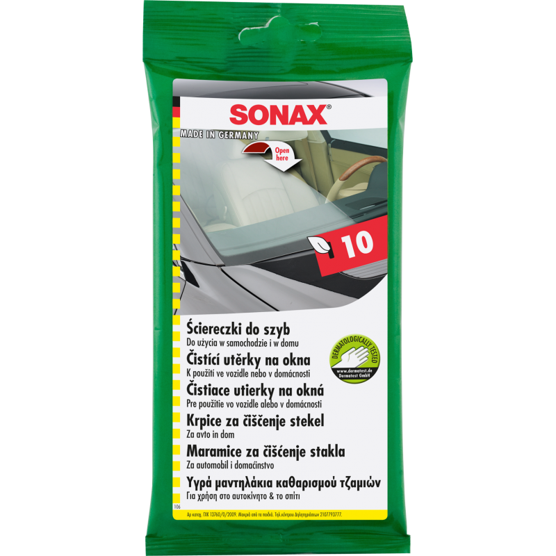 SONAX ściereczki do szyb samochodowych - 10 sztuk