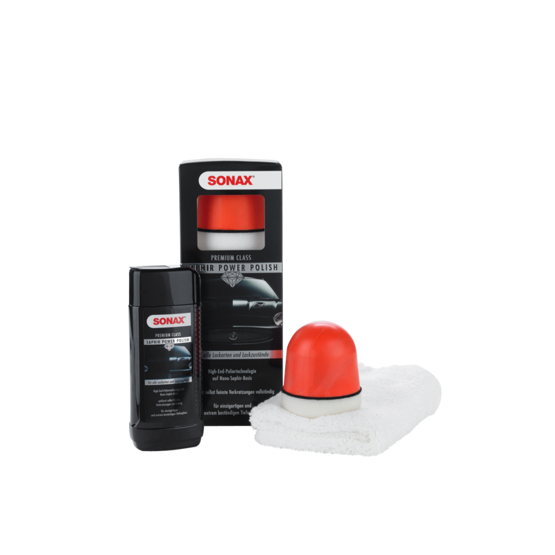 SONAX Premium Class Zestaw do polerowania lakieru 250 ml - preparat polerski, gąbka P-Ball, ściereczka z mikrofibry